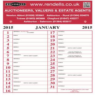 Rendells Calendar, printed by Wotton Printers